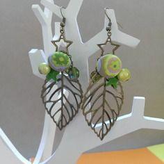 Boucles d'oreilles feuilles couleur bronze et vert