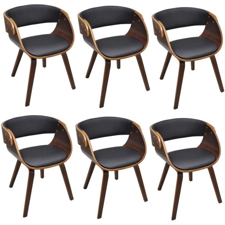 Set Of 6 Dining Chairs Faux Leather Contemporary Design Living Room Furniture