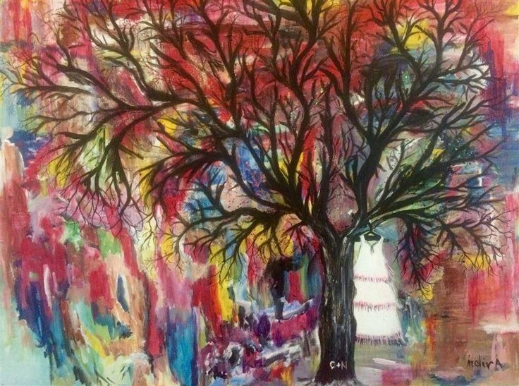Annons på Tradera: Akryl målad tavla