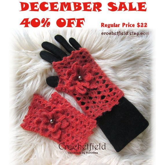 December Sale 40% OFF Russet Crochet Mittens with by Crochetfield