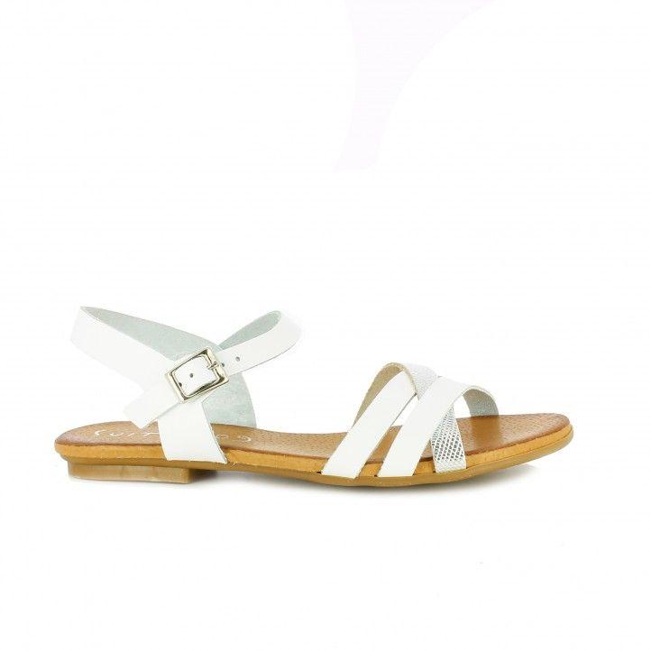 sandalias planas SUITE009 blancas y plateadas piel
