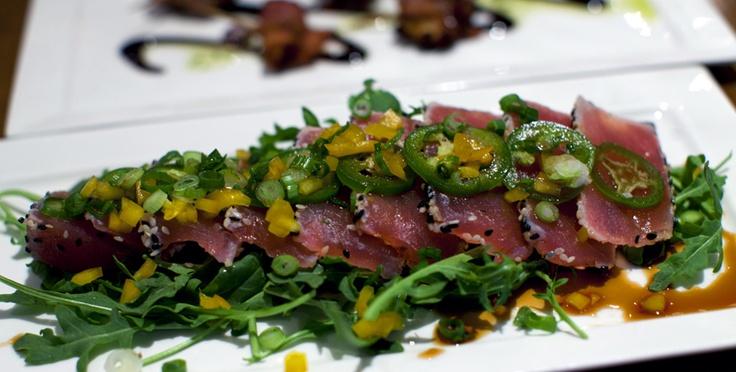 Ahi Crudo- Seasame Crusted Seared Sustainable Ahi, Ponzu, Green Onions, Jalapeños- Enjoyed at Avant Tapas and Wine. #japanesefood @willieboysf (Photo by Wilfred Wong, May 14, 2012, Buellton, CA): Willieboysf Photo