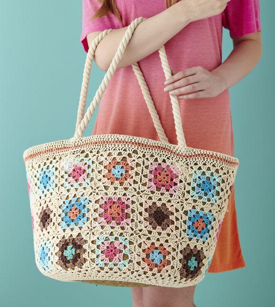 Mollie Makes 42 Crochet Pattern granny square market shopper bag ༺✿ƬⱤღ✿༻
