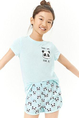 20090683b9f1 Girls Panda Graphic Pajama Set (Kids)