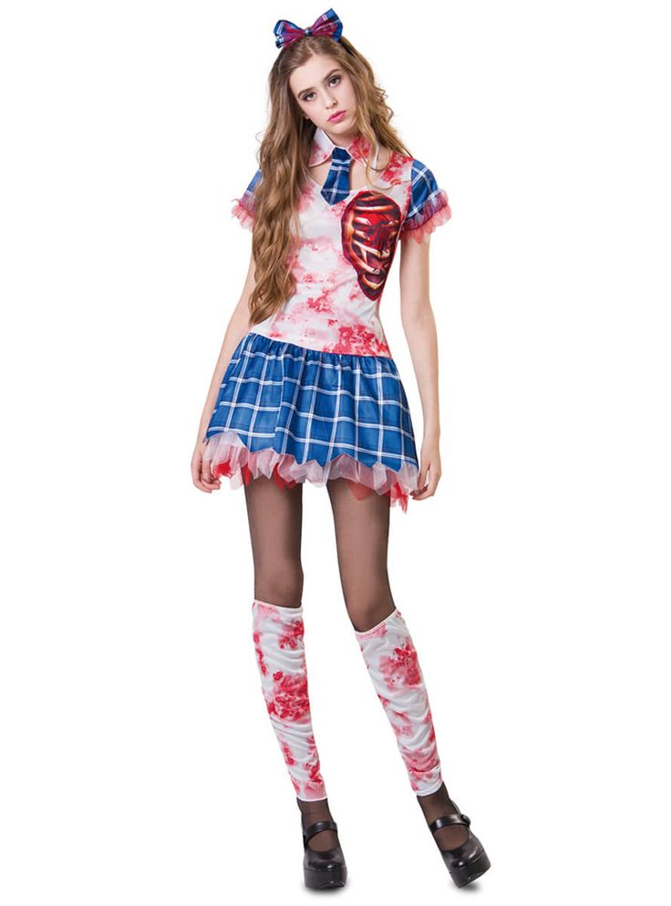 Disfraz de estudiante de internado zombie para mujer