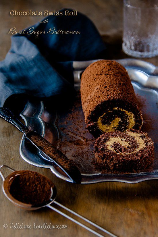 Chocolate Roulade (swiss roll) with Burnt Sugar Buttercream filling   via deliciouseveryday.com