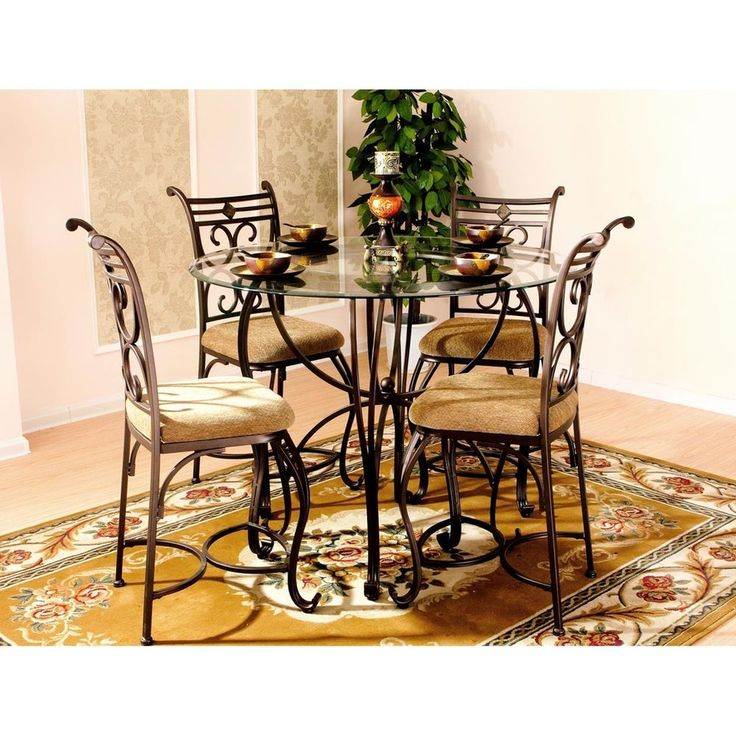 New 5 Piece Round Glass Top Traditional Dining Room Kitchen Dinette Table Set