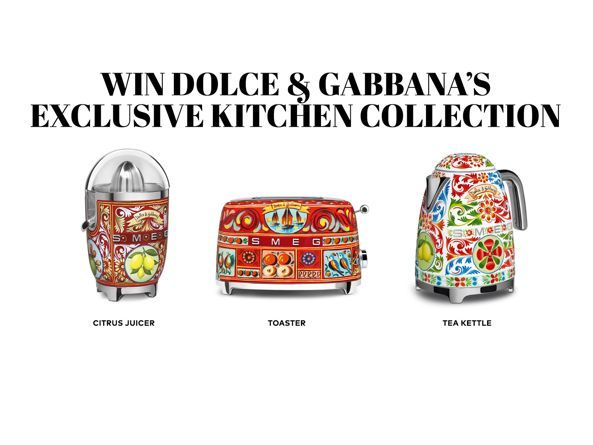 Enter the Tasting Table's 2018 Floating Farmhouse Sweepstakes to win a Dolce Gabbana SMEG Juicer, Toaster, and Tea Kettle!