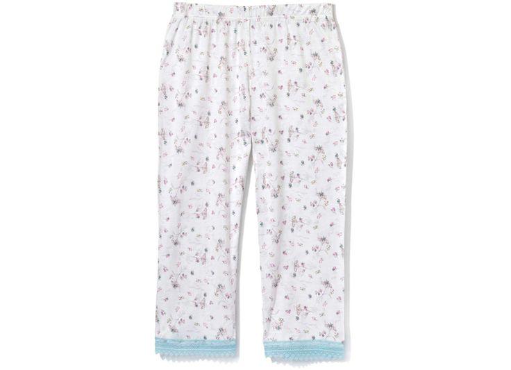 Spodnie 3/4 z nadrukiem w kwiaty. Nogawki spodni wykończone ażurową koronką.