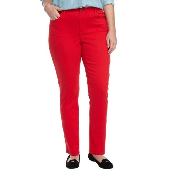Crown  Ivy  Red Hot Plus Size Colored Jean - Women's (30 CAD) ❤ liked on Polyvore featuring plus size women's fashion, plus size clothing, plus size jeans, red hot, women's plus size jeans, red jeans, colored denim jeans and plus size red jeans
