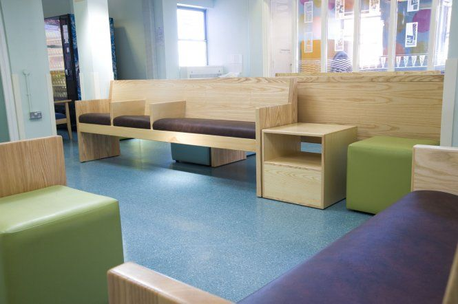 The A&E waiting room along with the children's room and reception desk was completely transformed at the Accident & Emergency Department at Frenchay Hospital in Bristol.  The aim and objective of the design was to calm and reassure patients who might have come into A&E due to a traumatic experience.