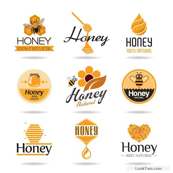 Creative honey logos desing vector 01 free vector download