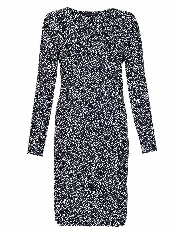 NEW THIS SEASON MARKS AND SPENCER NAVY SEED PRINT TUNIC DRESS 10 12 14 16 18 20
