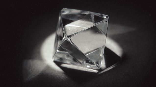 The most common shape for rough gem quality diamond is the octahedron, which looks like two pyramids back to back. GIA (082613)