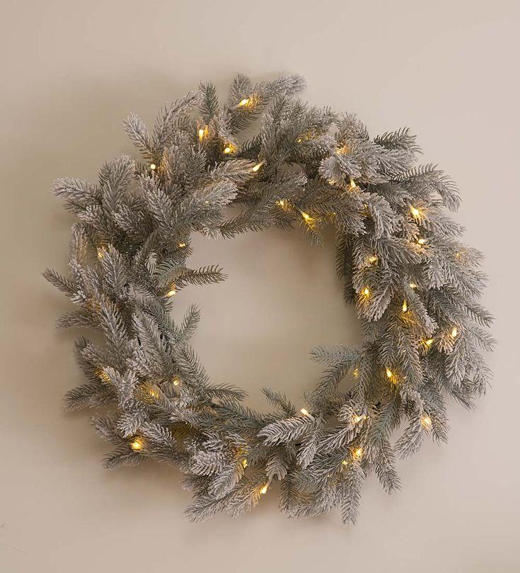 161 best wreaths garlands for all seasons images on pinterest frosted grandis fir lighted wreath holiday greenery workwithnaturefo