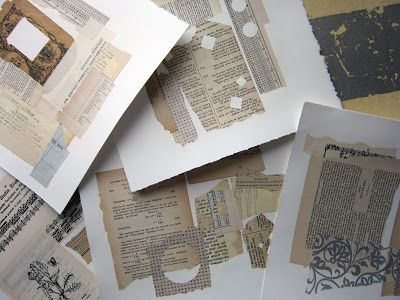 Something Borrowed - gelli printing over collaged text.
