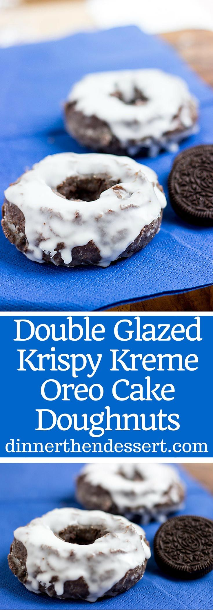 These Krispy Kreme Oreo Cake Doughnuts are a fun play on the Krispy Kreme chocolate glazed cake doughnut and Oreo doughnut that is double glazed!