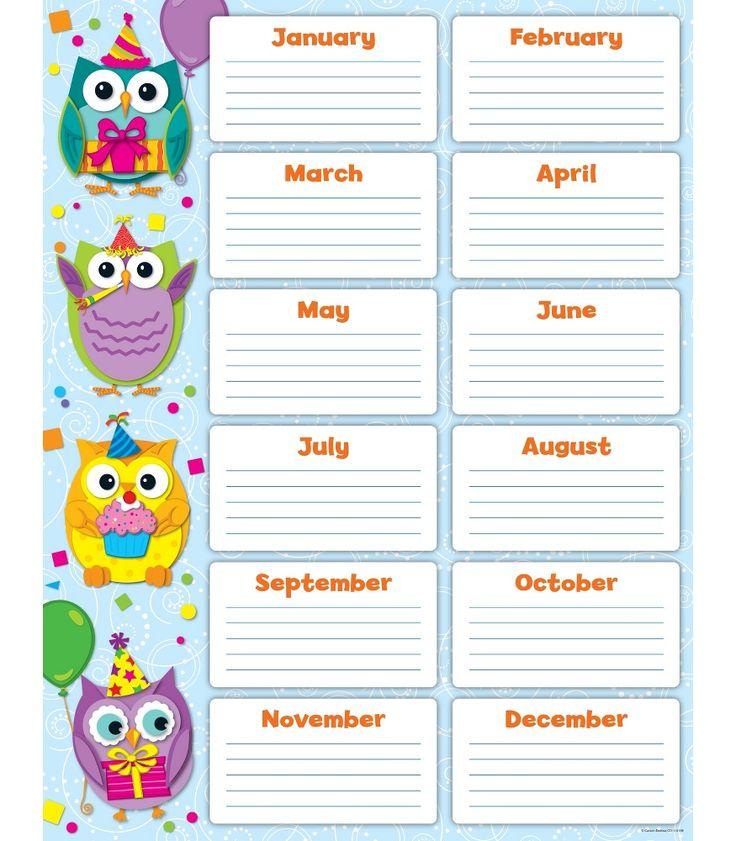 Colorful Owls Birthday Chart | Classroom décor from Carson-Dellosa