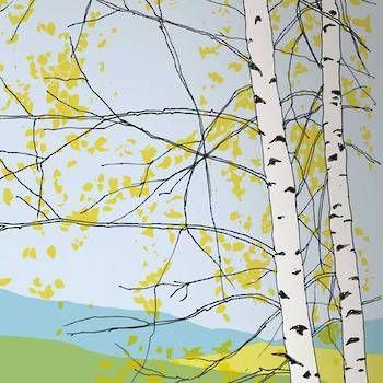 Wallpaper: Kaiku Panel in Yellow and Green by Marimekko.
