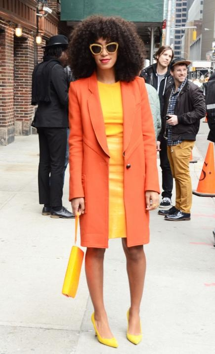 One thing's for sure about Queen Bey's younger sister—she's not afraid to rock bright colors. We love the cheery yellow and orange combo she was spotted wearing outside The Late Show with David Letterman studios in February. Solange keeps her look from being too wild by opting for pieces that are sleek and sophisticated. Feeling colorful yourself? Find everything you need to copy her look here.