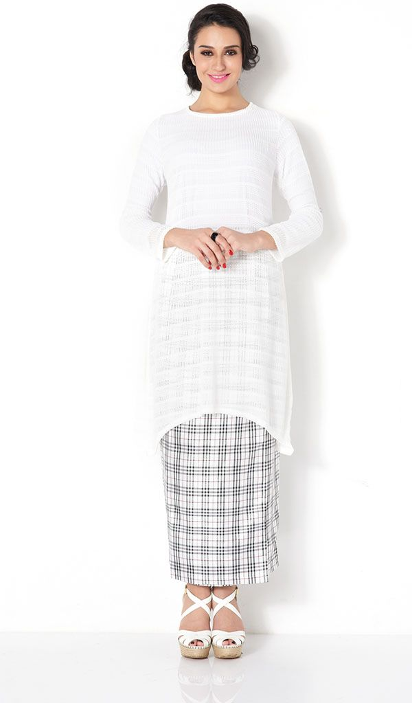 First Lady mix plain lace plaid modern baju kurung