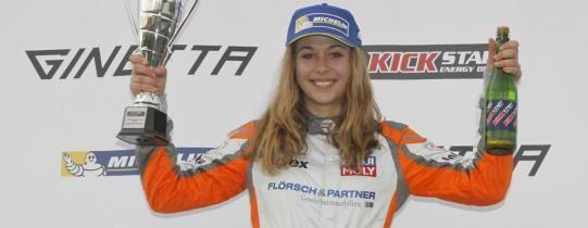 Sophia Floersch takes an impressive double win in the Ginetta Junior Championship at Thruxton. - Ginetta.com