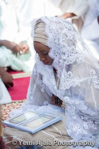 Nigerian wedding muslim Nikkai ceremony ofTemilola & Abdulrahman 17 bride. Hijab white and gold. Islam