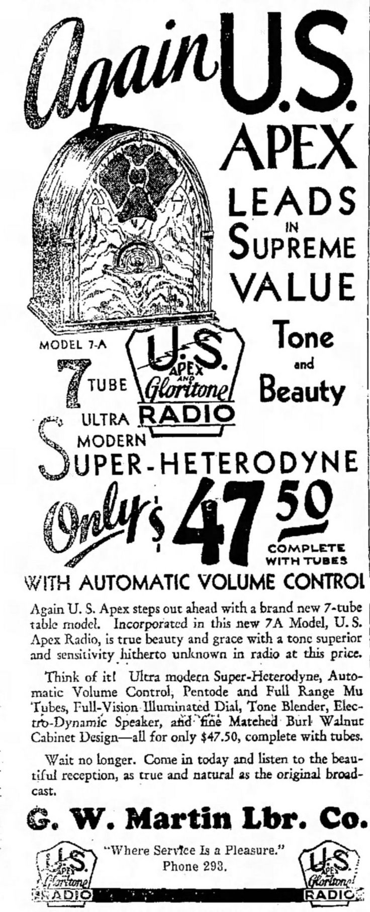https://flic.kr/p/xxUHZ5   Vintage Advertising For The U.S. Apex Model 7-A Cathedral Radio, The Denton Texas Record Chronicle Newspaper, December 22, 1931