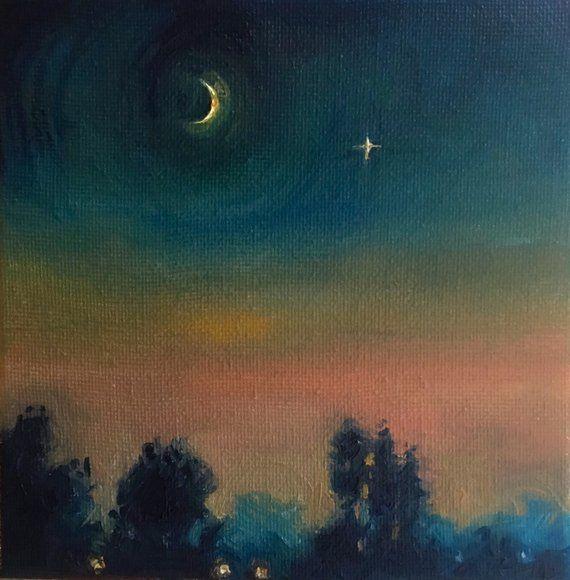 Original Small Oil Painting Original Small Oil Landscape Landscape Evening Stars Moon Evening Painting Night Sky Night Sky Painting Sky Painting Painting