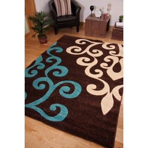 Cobolt Blue And Brown Rugs | Toronto Retro Modern Brown Teal Blue Hand  Carved Rug