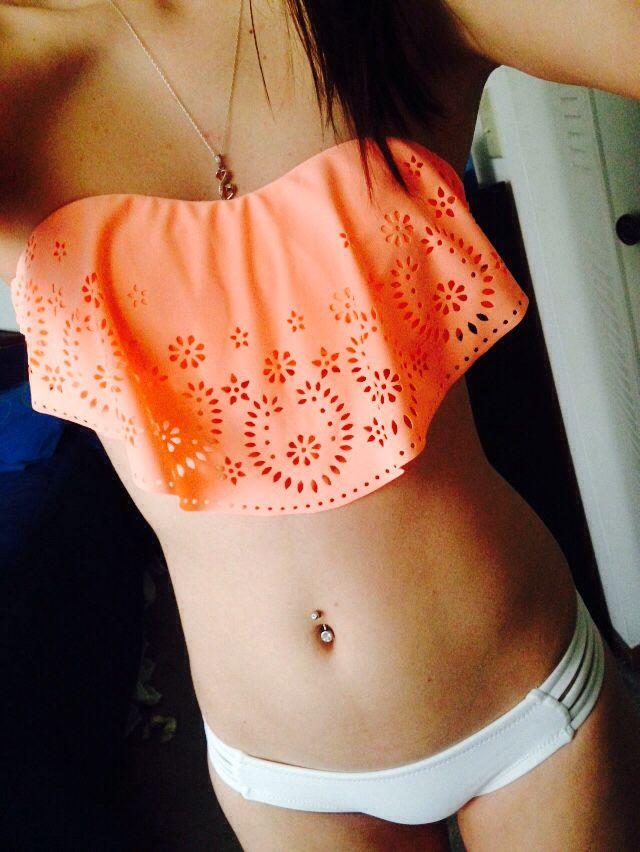 $17.99 Strappy Back Flounce Bikini Swim Top - Xhilaration - Bikini ...