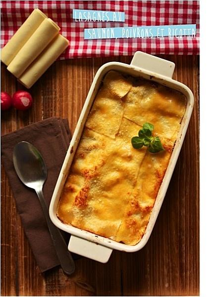 lasagnes au saumon, poivrons et ricotta