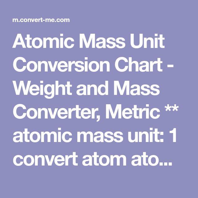 Atomic Mass Unit Conversion Chart - Weight and Mass Converter, Metric ** atomic mass unit: 1 convert atom atoms into mass density Hzgcm3o
