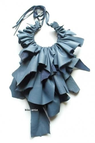 Giulia Boccafogli. Fabric necklace like accessory beautiful :)