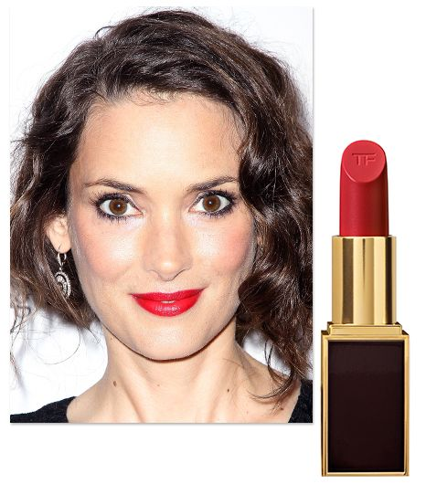 Winona Ryder wears Tom Ford's Lip Color ($48) in Cherry Lush