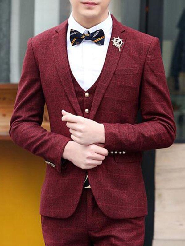 Vogue Three-Piece Men's Suit - Red