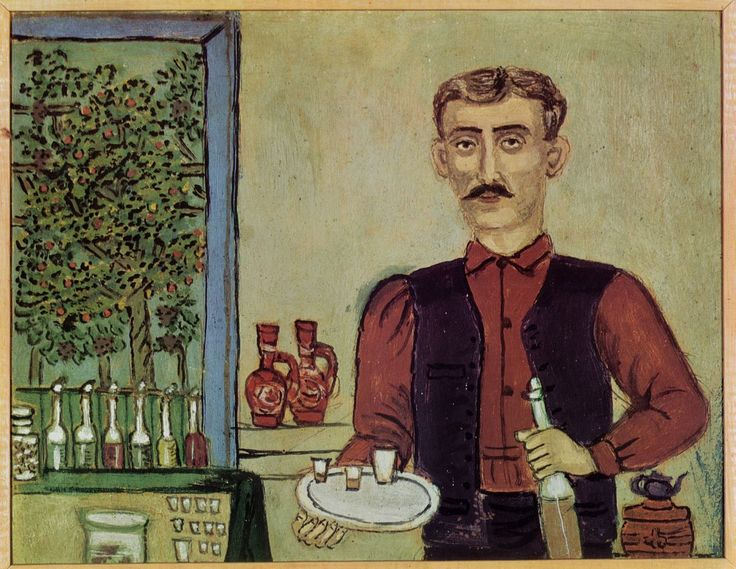 Theofilos (Chatzimichail) or Kefalas . A self-taught folk painter with inspiration and sensitivity that went far beyond the conventionalism of folk art. Born in Mitilini (1870-1934), he spent most of his life there and in the villages of Mt. Pilio, painting the walls of private dwellings and shops and, more rarely, the surfaces of portable objects. He portrayed historical subjects and genre scenes in a unique combination of iconographic symbols.