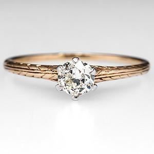 Victorian Engagement Ring Diamond Solitaire w/ Engraving 14K Gold 1900's - EraGem
