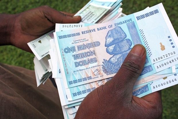 For many observers, the Zimbabwean dollar has staggered from disaster to disaster, with millions of dollars required for even the smallest of transactions and hyper-inflation reaching 500 billion % in 2008. At the height of Zimbabwe's economic crisis, residents had to carry plastic bags bulging with bank notes to buy basic goods, with prices rising at least twice a day.The highest and last bank note to be printed by the Reserve Bank of Zimbabwe in 2008 was 100 trillion Zimbabwean dollars.