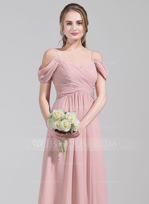 c7c7a6515ea A-Line Princess Off-the-Shoulder Floor-Length Chiffon Bridesmaid Dress With  Ruffle