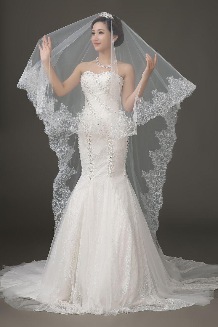 Fishnet Wedding Veils with Princess Dresses