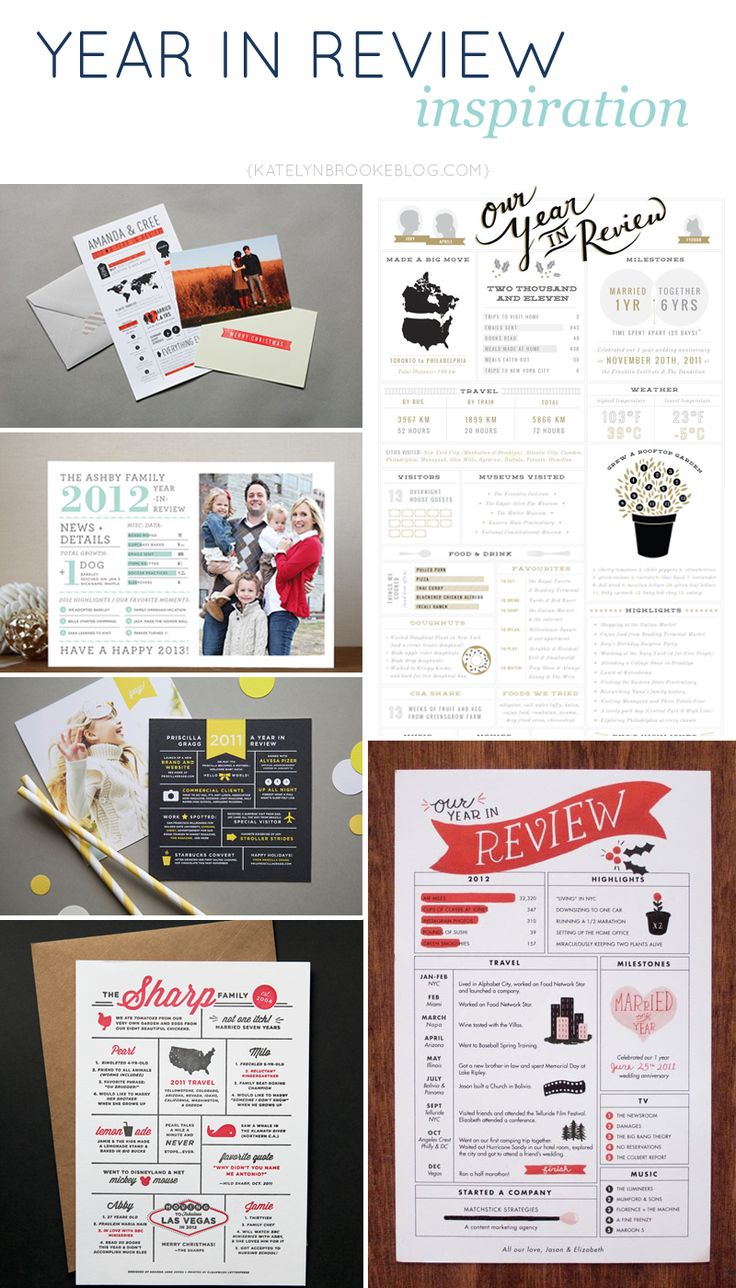 Inspiration for DIY Year in Review infographic cards. Send with christmas cards instead of boring play by play