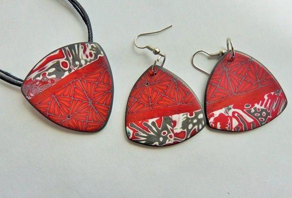 Polymer clay mokume gane jewellery by Feux de paille