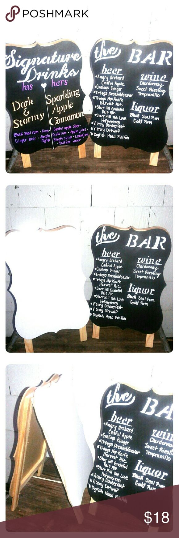 """Chalkboard and Whiteboard Easels Used only once for my wedding! Set of 3 easels with chalkboard on one side and white board on another. Currently there is chalk marker on the blackboard side, but it can easily be erased. Measurements: 12.8"""" L x 8"""" W x 7"""" D Bundle with other wedding decorations in my closet and save! Other"""
