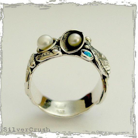 anello di fidanzamento di foglia lascia anello di silvercrush