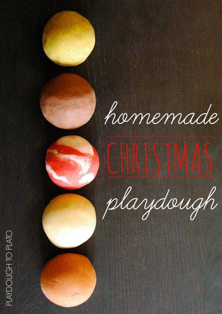 5 Must Try Christmas Playdough Recipes- Chocolate, candy cane, sugar cookie, orange clove, and egg nog dough!