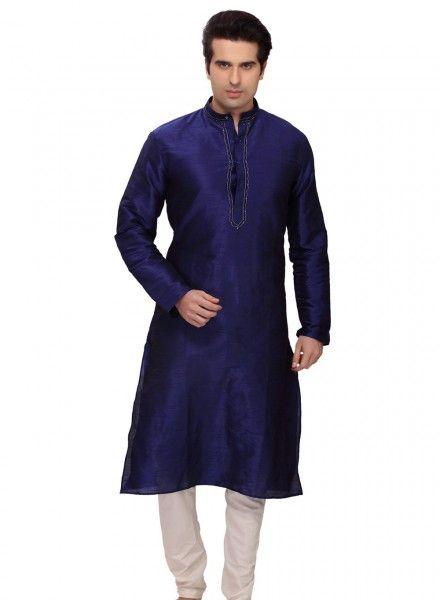 Blue art silk party wear kurta pajama for men E16118