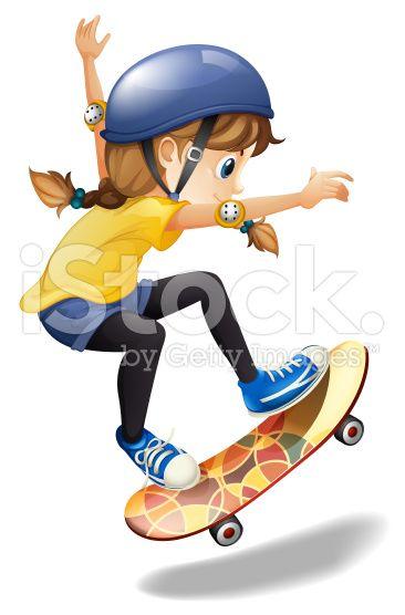 Female skateboarder royalty-free stock vector art