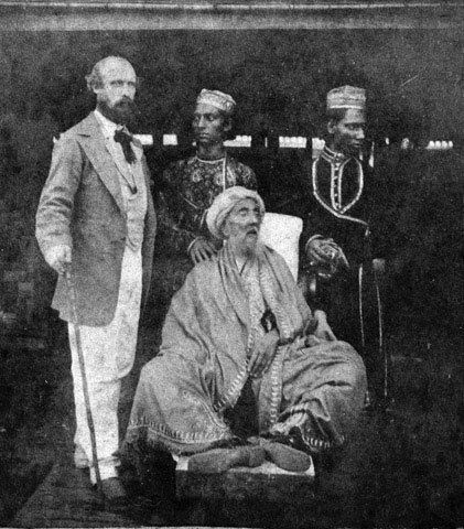 Bahadur Shah Zafar (1775-1862) was the last Mughal Emperor of India, contemptuously dubbed the 'King or Emperor of Delhi' by the British. He is shown here in exile in Burma in the aftermath of the Indian Mutiny (1857-1859). Although there were calls for his execution, a promise had been made on his surrender that his life would be spared. Most of his sons suffered a worse fate; after they had surrendered the British killed them in cold blood.