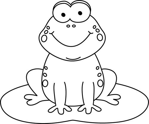 Black and White Cartoon Frog on a Lily Pad | Coloring ...
